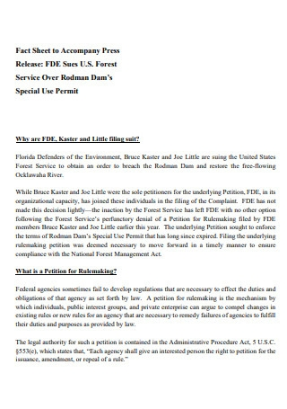 Accompany Press Release Fact Sheet