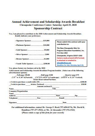 Achievement Sponsorship Contract
