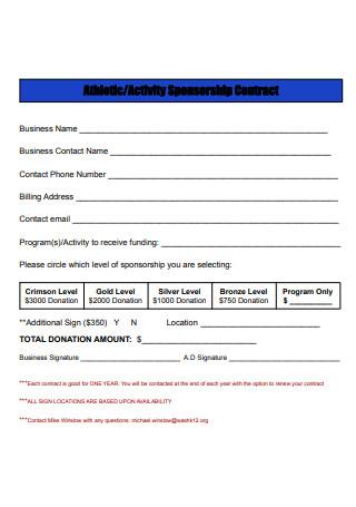 Activity Sponsorship Contract