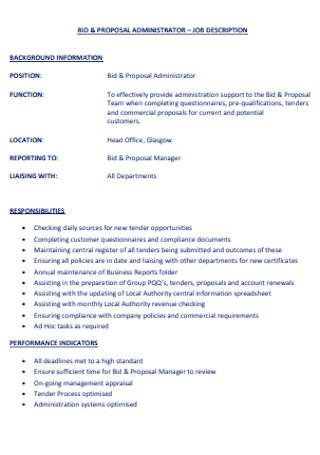 Administrator job Bid Proposal