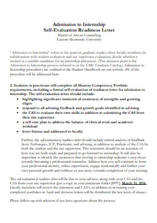 Admission to Internship Self Evaluation
