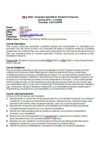 Advanced Qualitative Research Proposal