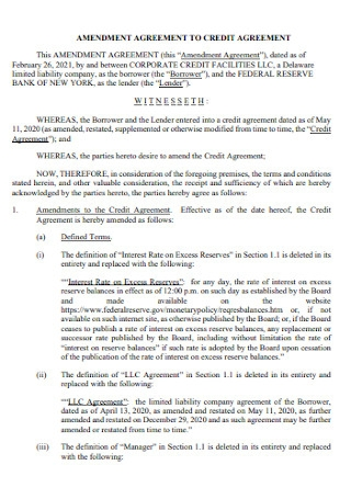 Ammedment to Credit Agreement