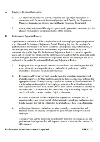 Annual Appraisal Performance Evaluation