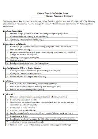 Annual Board Evaluation Form