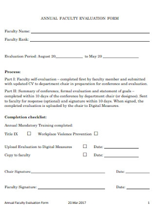 Annual Faculty Evaluation Form