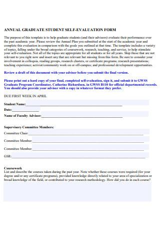 Annual Graduate Student Self Evaluation Form