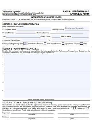 Annual Performance Evaluation Appraisal Form