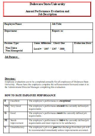 Annual Performance Evaluation and Job Description