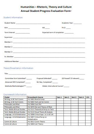 Annual Student Progress Evaluation Form