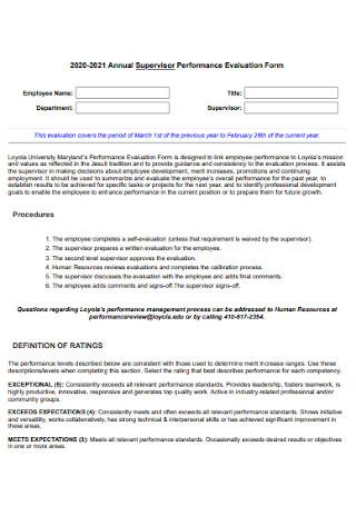 Annual Supervisor Evaluation Form