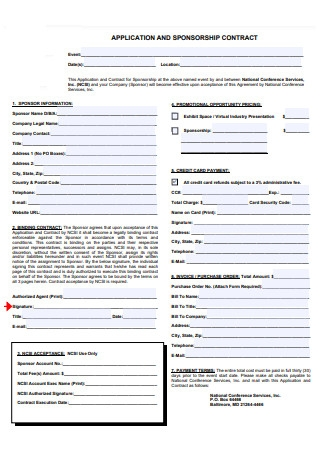 Application and Sponsorship Contract