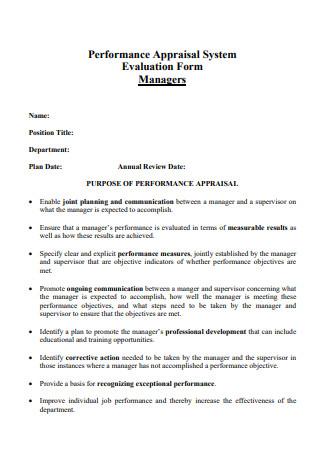 Appraisal Evaluation Form