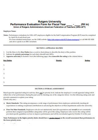 Appraisal Matrix Performance Evaluation