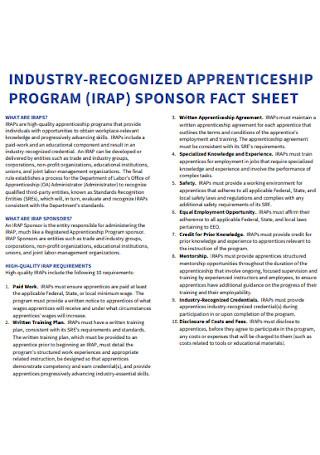 Apprenticeship Program Sponsorship Fact Sheet