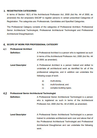 Architectural Profession Scope of Work