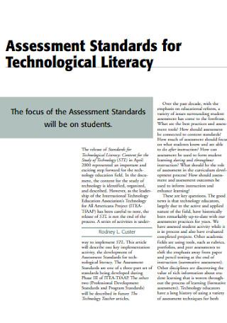 Assessment for Technological Literacy