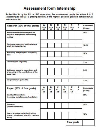 Assessment form Internship
