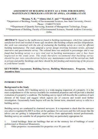 Assessment of Building Survey