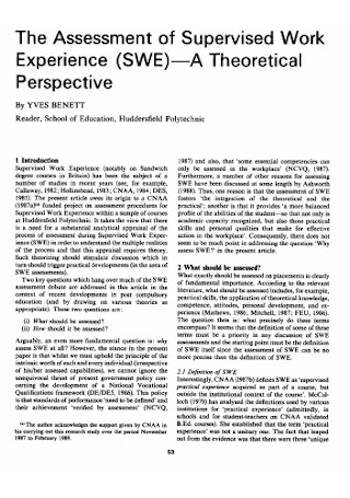 Assessment of Supervised Work