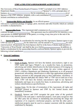 Athlectics Sponsorship Agreement