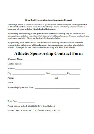 Athletic Sponsorship Contract Form