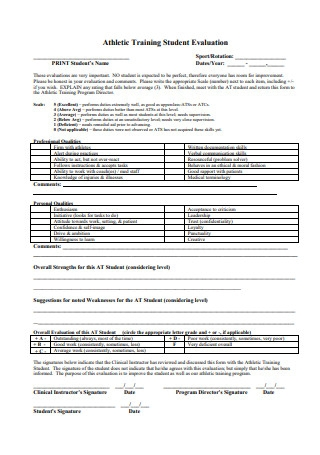 Athletic Training Student Evaluation
