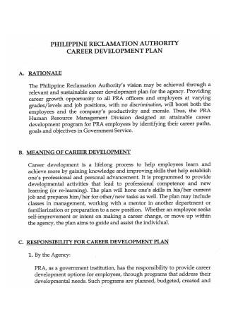 Authority Career Development Plan