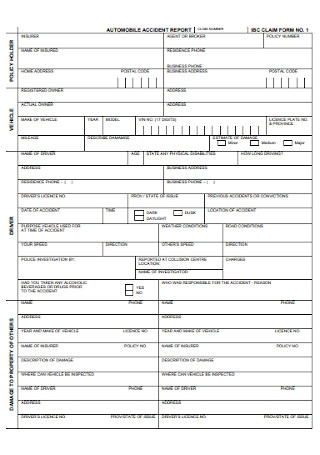 Automobile Accident Report Form