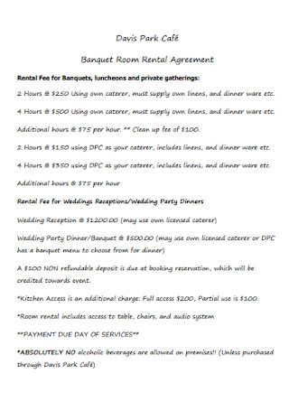 Banquet Room Rental Agreement Template