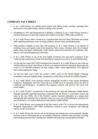 Basic Company Fact Sheet