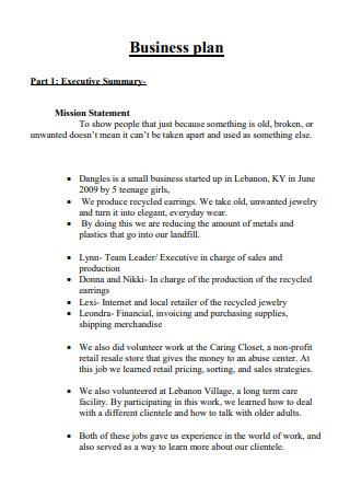 Basic Jewelry Business Plan