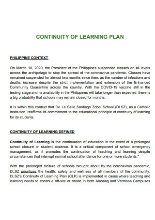 Basic Learning Continuity Plan