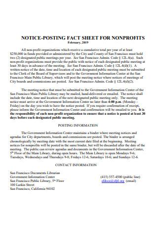 Basic Non Profit Fact Sheet