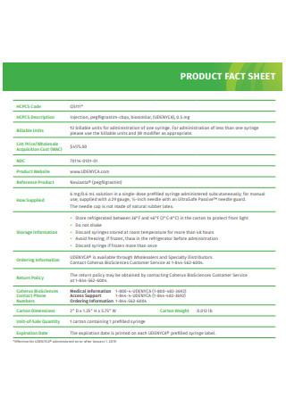 Basic Product Fact Sheet