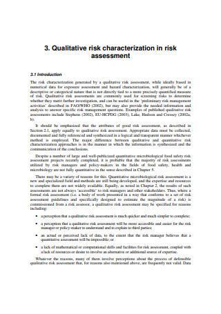 Basic Qualitative Risk Assessment