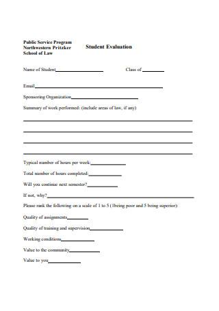 Basic Student Evaluation