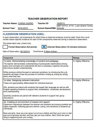 Basic Teacher Observation Report