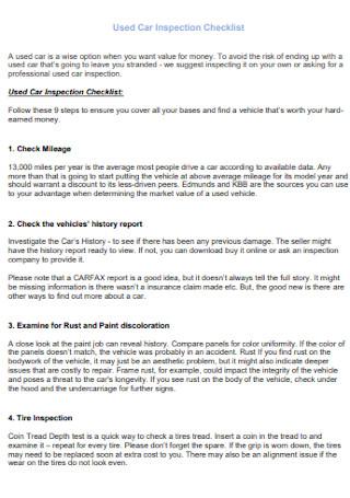 Basic Used Car Inspection Checklist