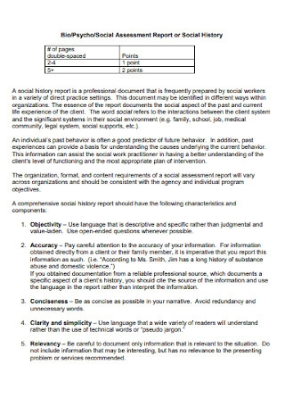 BiopsychoSocial Assessment Report