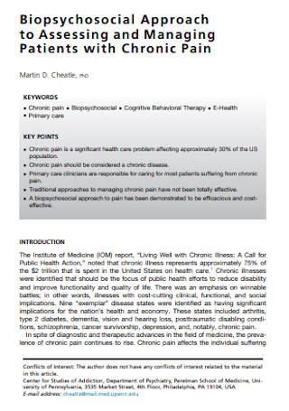 Biopsychosocial Approach to Assessment