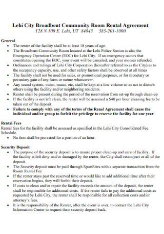 Broadbent Community Room Rental Agreement