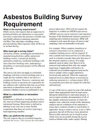 Building Survey Requirement Template