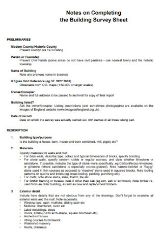 Building Survey Sheet