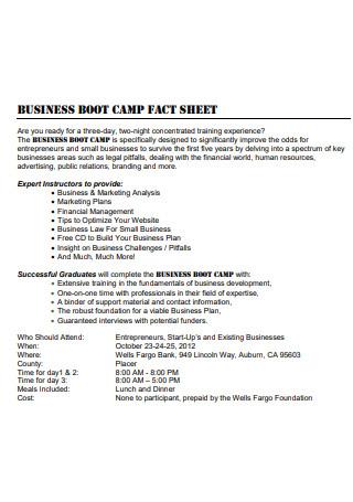 Business Camp Fact Sheet