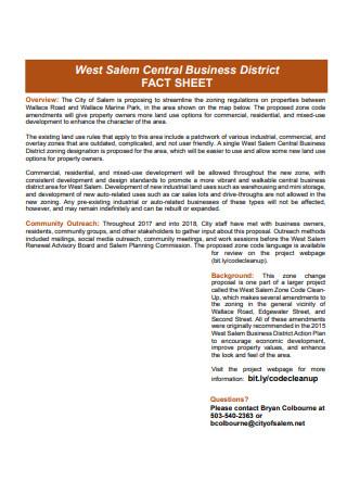 Business District Fact Sheet
