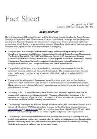 Business Fact Sheet in PDF