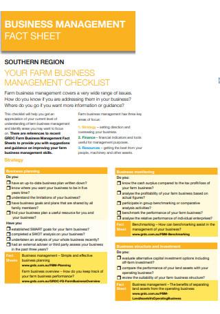 Business Management Fact Sheet