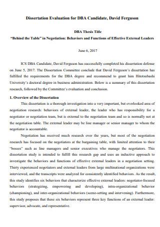 Candidate Dissertation Evaluation