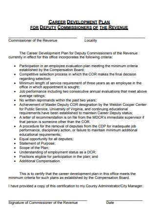 Career Development Plan For Deputy Commissioners